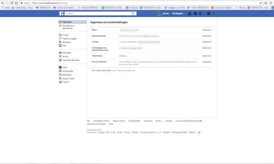 Facebook archief opvragen