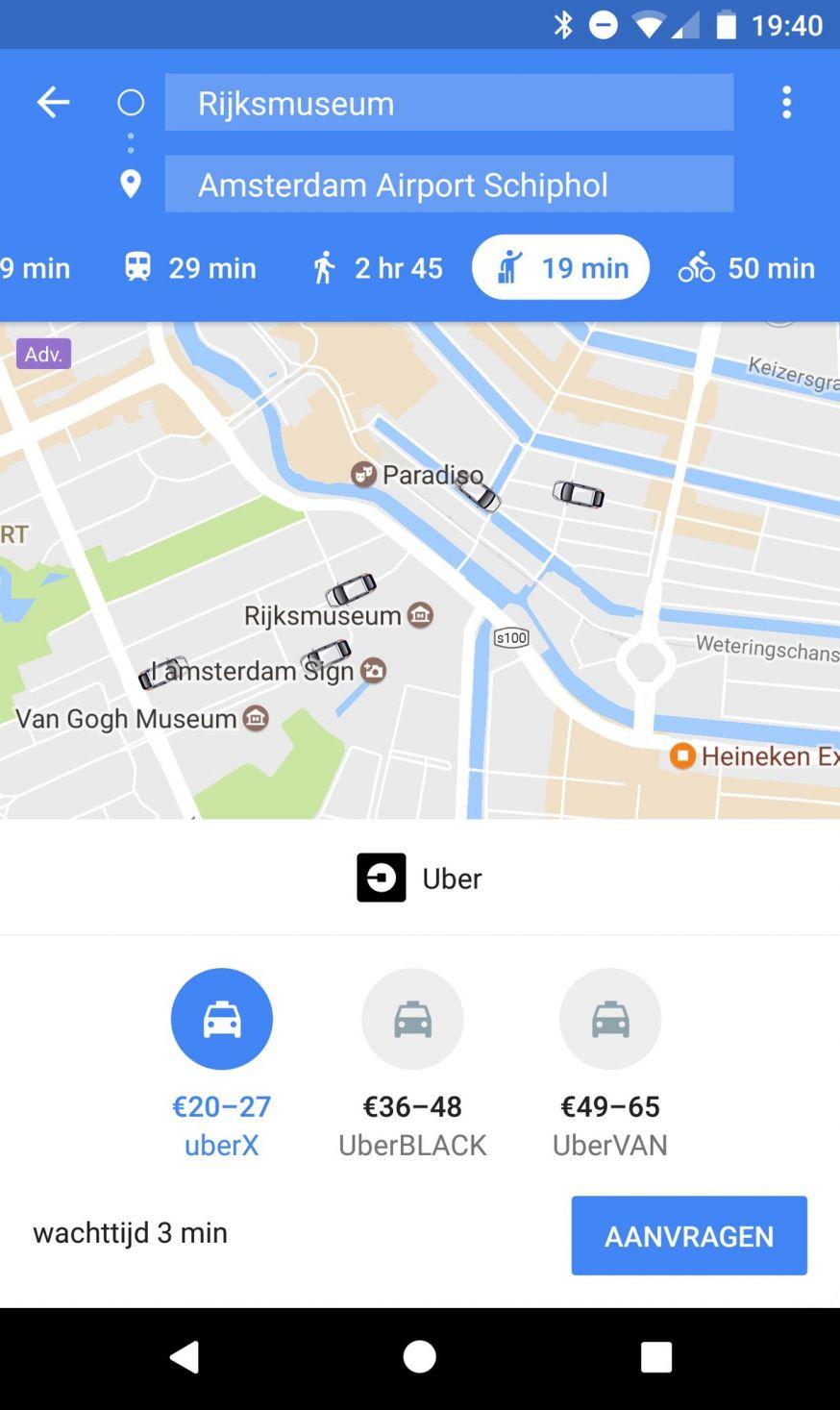 Uber in Google Maps
