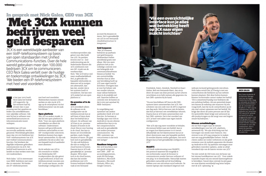 Interview met Nick Galea van 3CX in WINMAG Pro 3, 2018