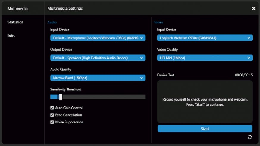 Update 3CX, multimedia settings