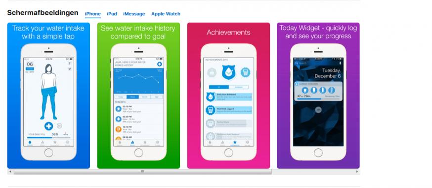 Overzicht mogelijkheden Water Minder-app in de App Store